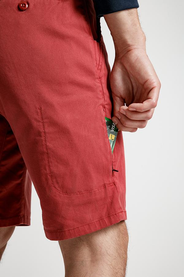 mens red lightweight shorts security pocket