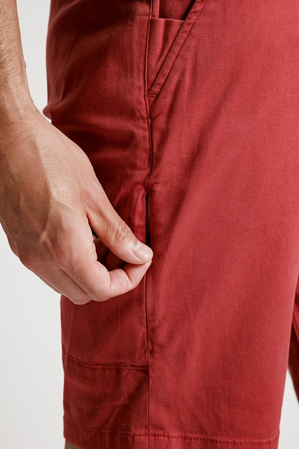 mens red lightweight shorts zipper pocket