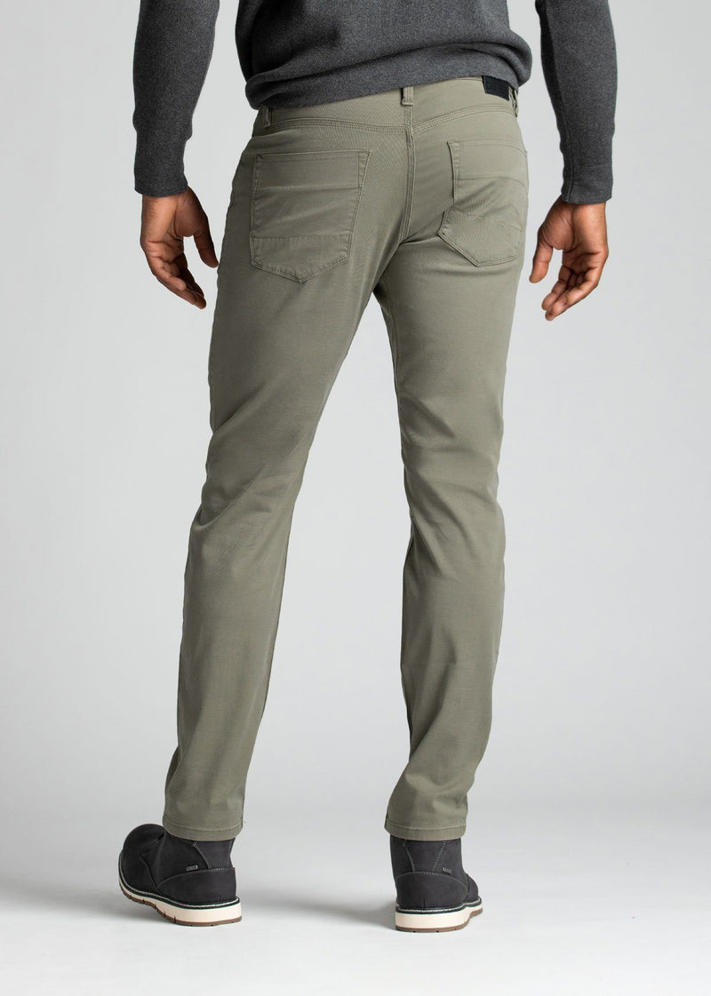 mens pale green lightweight slim pants back