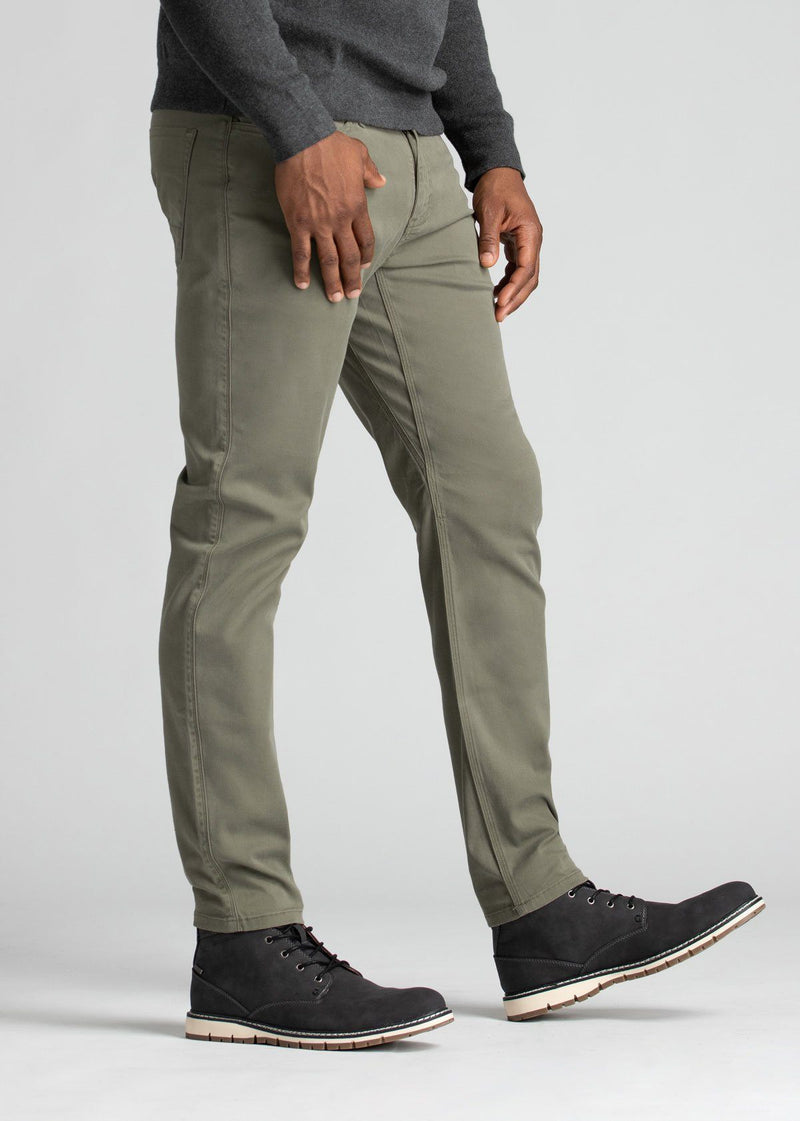 mens pale green lightweight slim pants sides