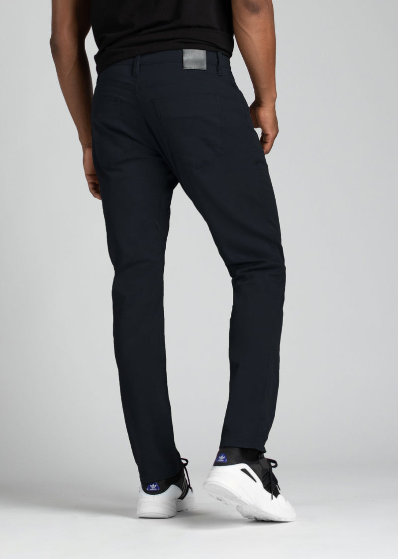mens relaxed taper lightweight navy pants back