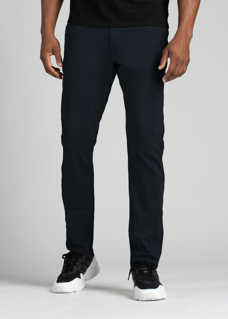 mens relaxed taper lightweight navy pants front