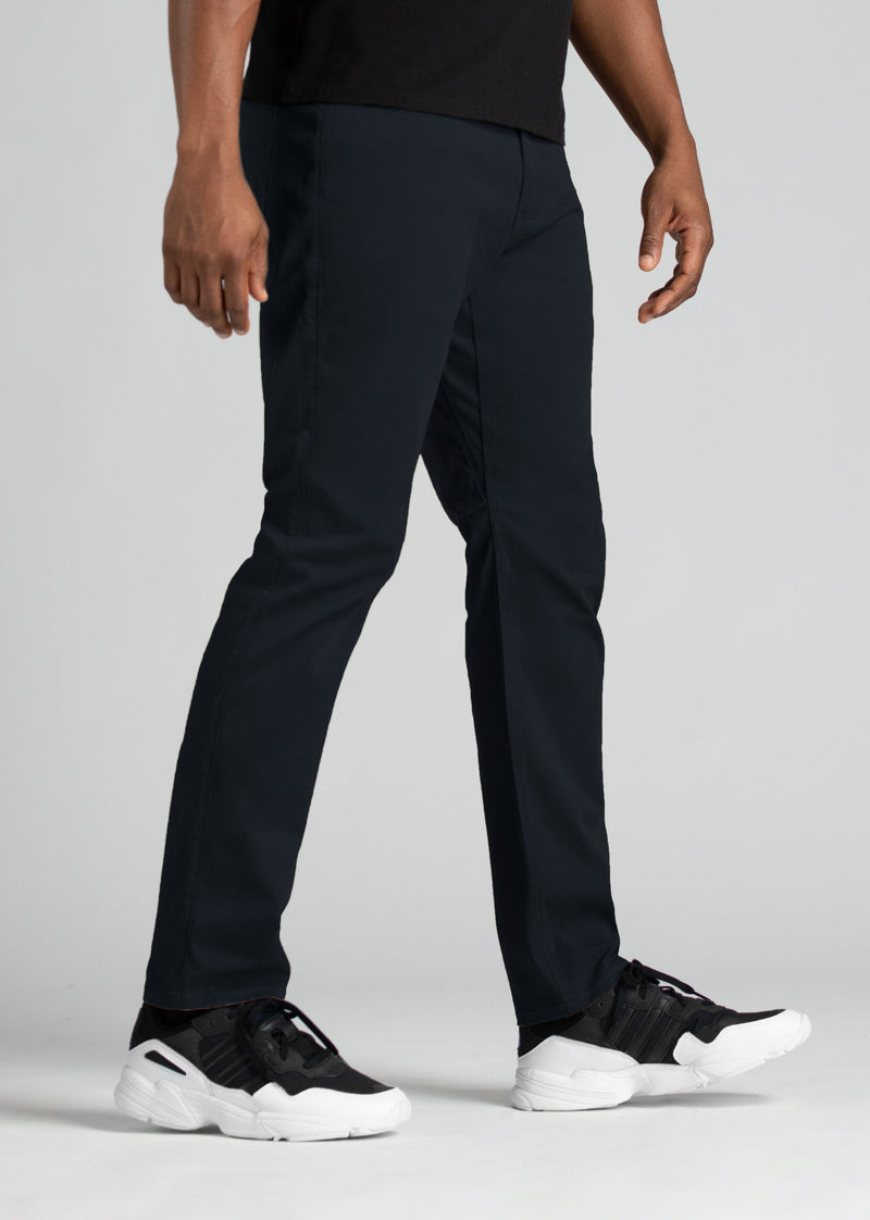mens relaxed taper lightweight navy pants side