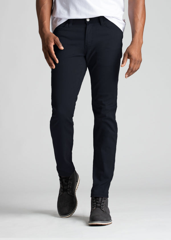 mens slim fit lightweight navy pants front
