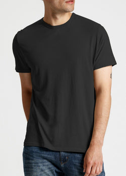 Mens soft lightweight black t-shirt front