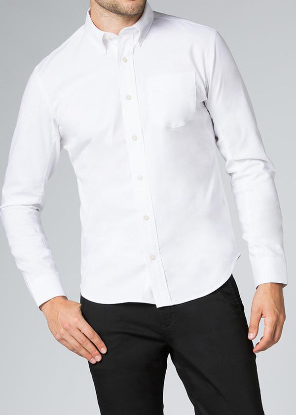 mens stretch dress shirt white front