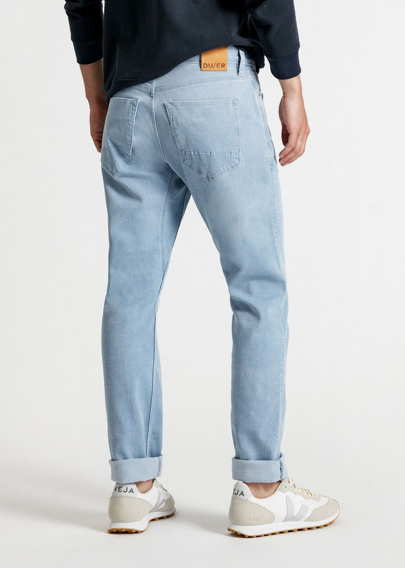 men's light blue relaxed fit stretch jeans back
