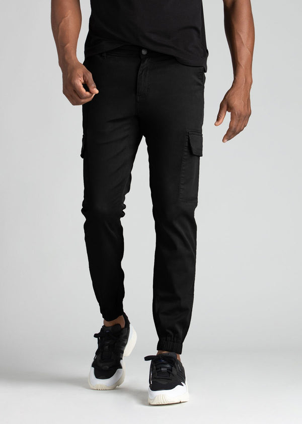 mens water resistant black athletic pants slim front