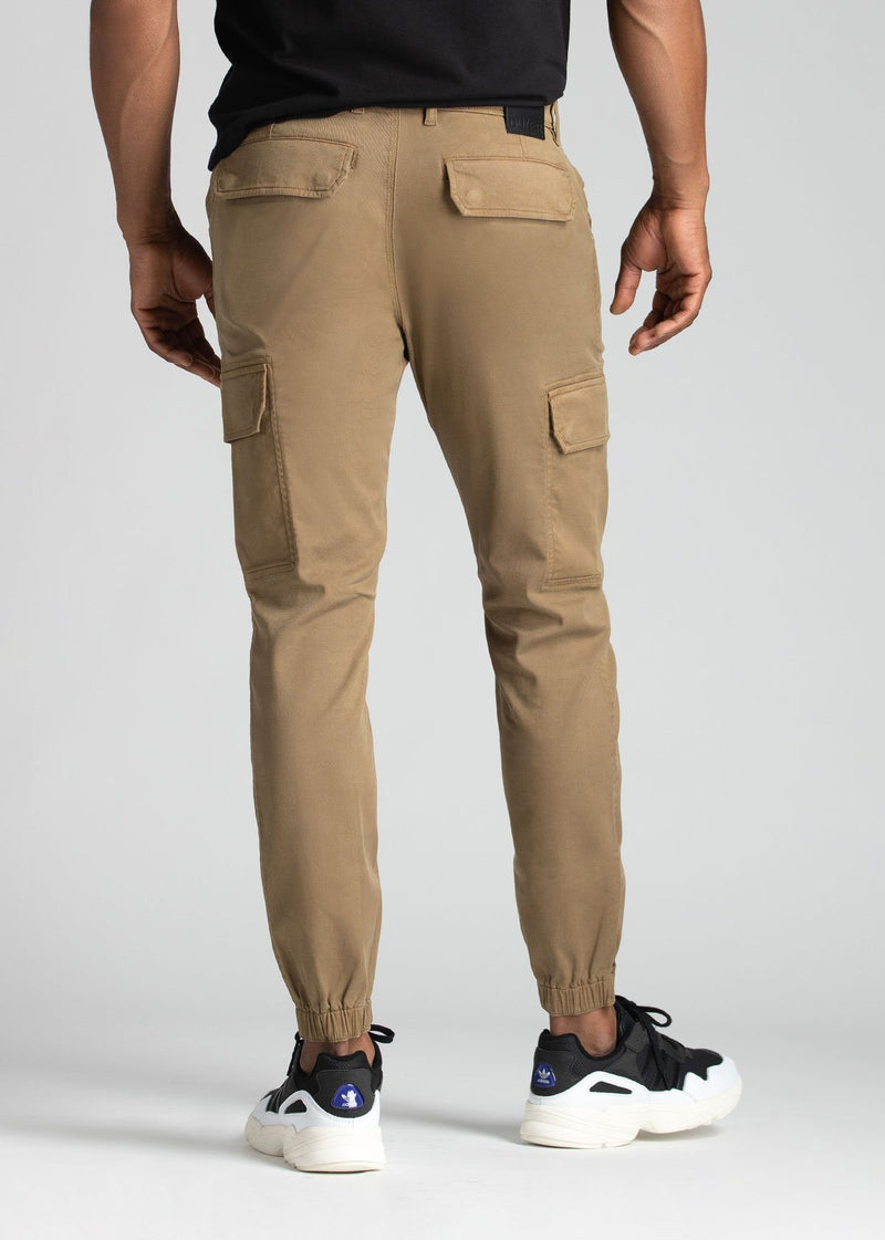 mens water resistant light brown athletic pants slim back