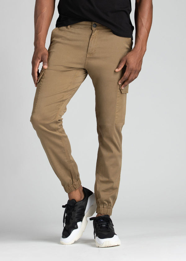 mens water resistant light brown athletic pants slim front