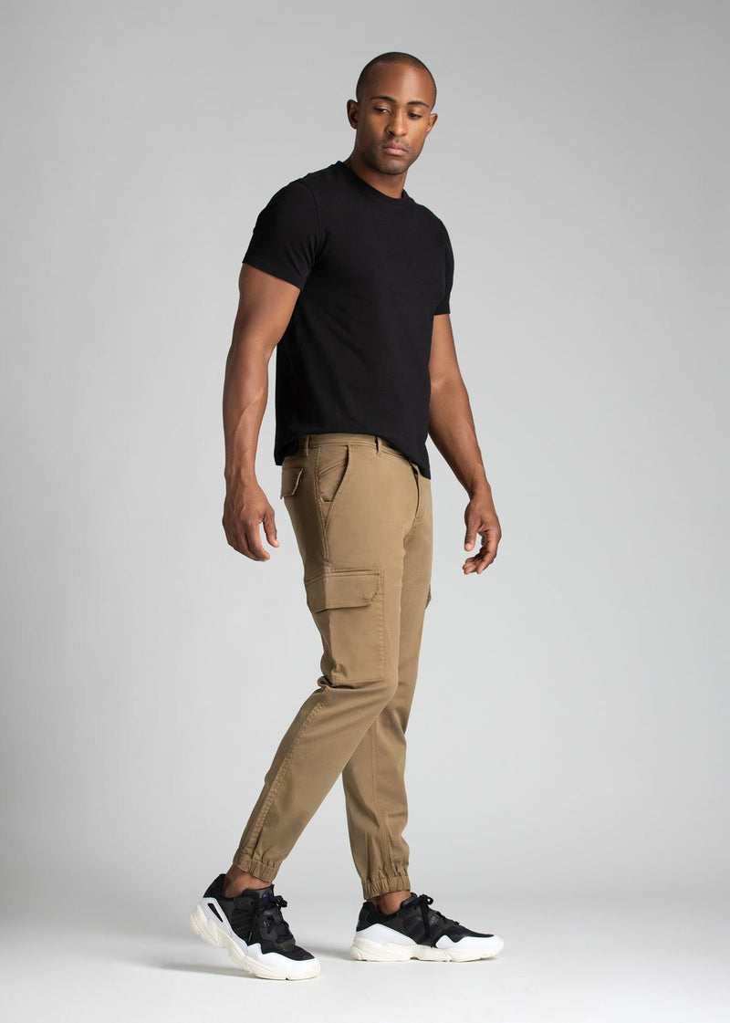 mens water resistant light brown athletic pants slim full body