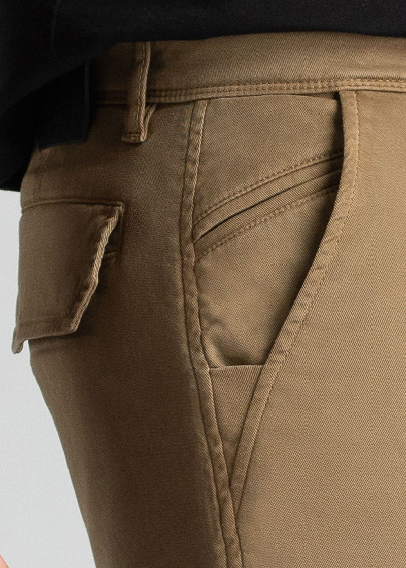 mens water resistant light brown athletic pants slim pocket detail
