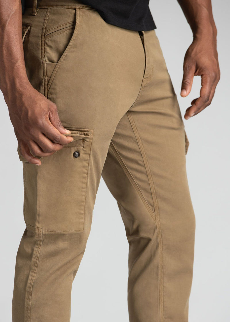 mens water resistant light brown athletic pants slim side detail