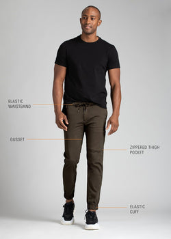 mens dark brown athletic jogger features
