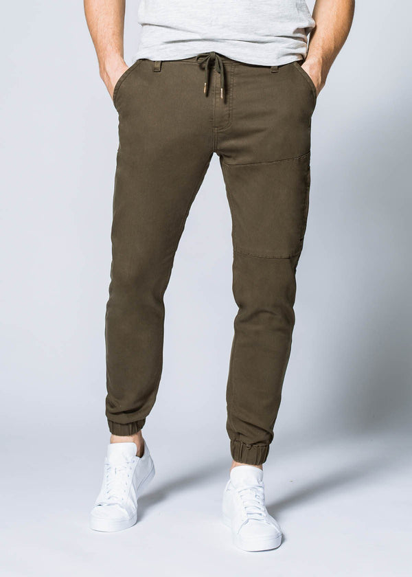 army green athletic jogger front