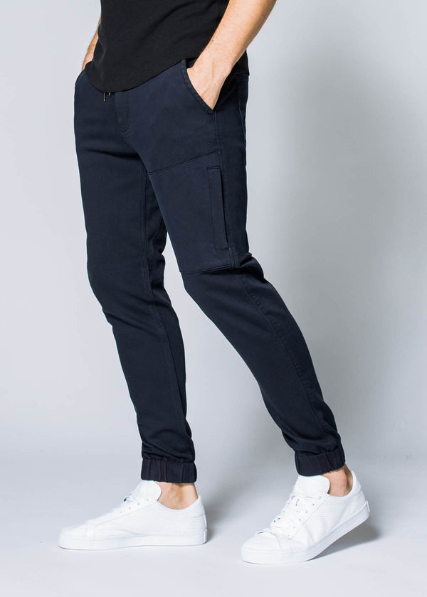 navy blue athletic jogger side