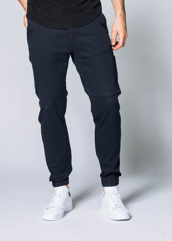 mens navy blue athletic jogger front