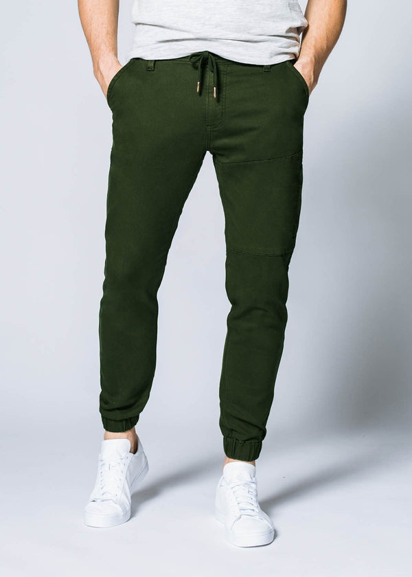 olive athletic jogger front