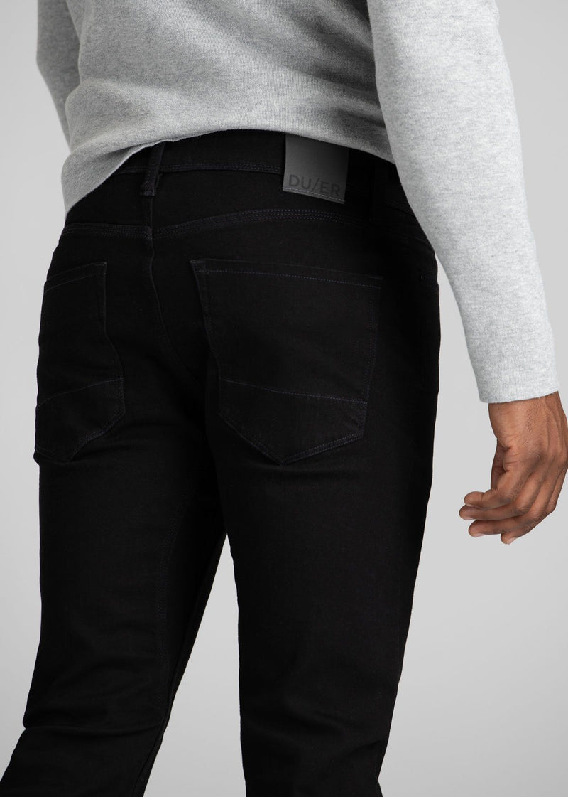 black water resistant stretch jeans reflective patch