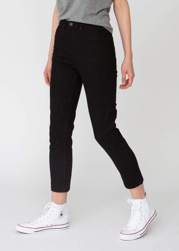 Performance Denim High Rise Slim Straight - Black 100