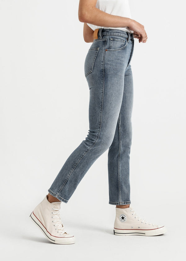womens vintage blue high rise straight stretch jeans side