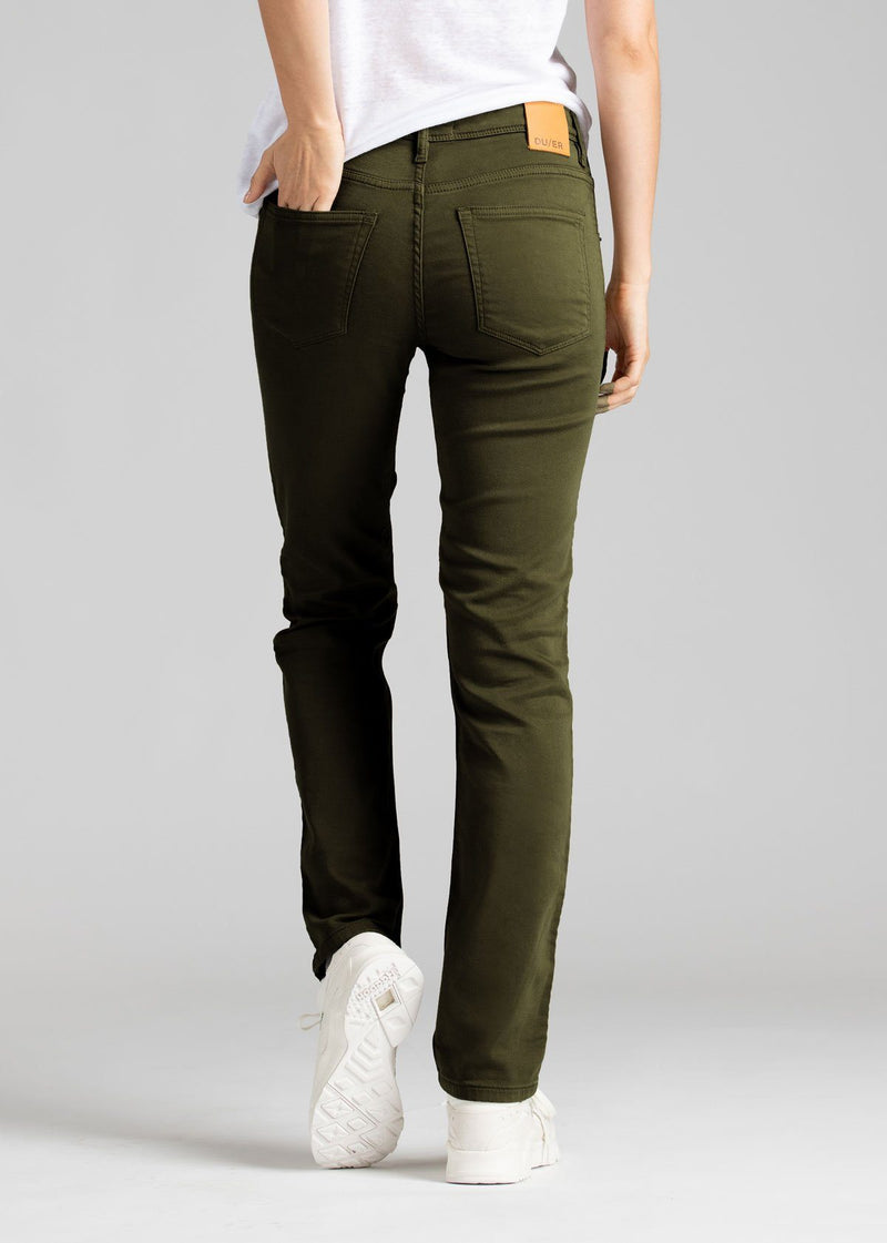 womens army green slim straight fit dress sweatpant back