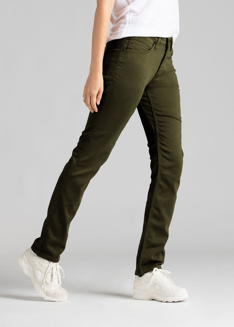 womens army green slim straight fit dress sweatpant side
