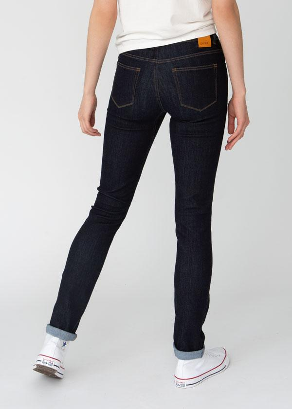 dark wash slim straight fit stretch jeans back