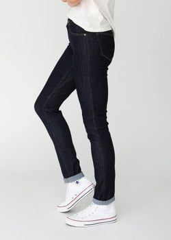 dark wash slim straight fit stretch jeans side