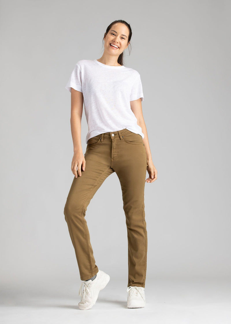 womens mustard slim straight fit dress sweatpant full body