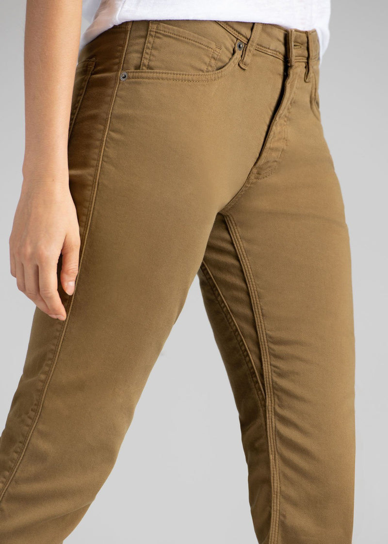womens mustard slim straight fit dress sweatpant side detail