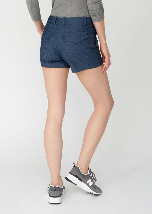 womens blue denim adventure athletic shorts back