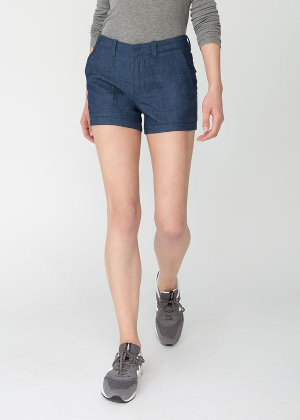 womens blue denim adventure athletic shorts front