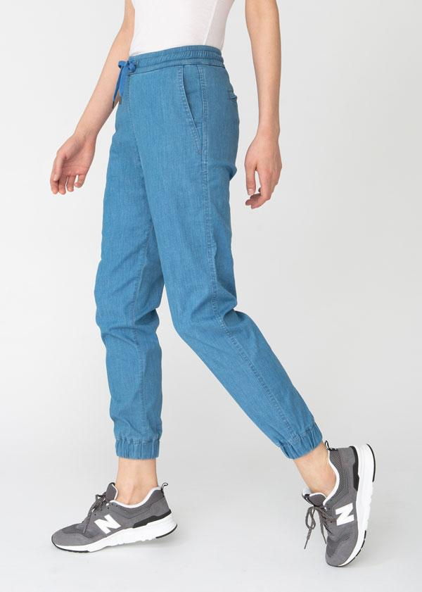 womens blue lightweight summer denim joggers side