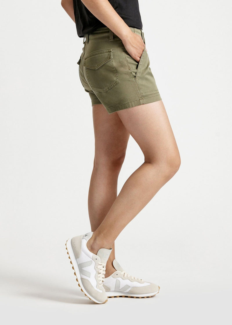 womens green adventure athletic shorts side