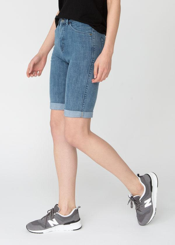 womens light blue denim commuter short side