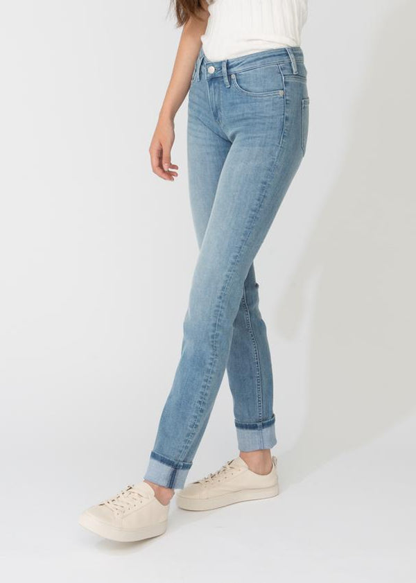 womens light blue stretch denim straight and narrow fit side