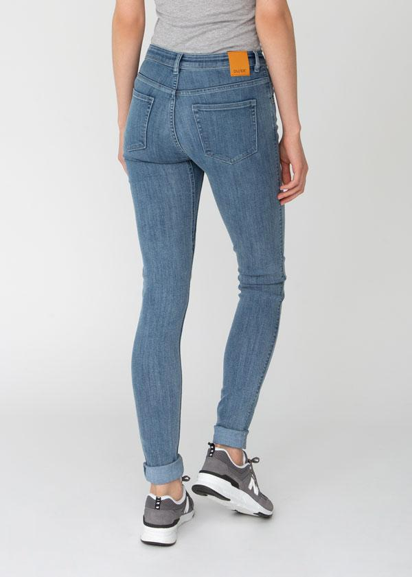womens light wash mid rise skinny fit stretch jeans back