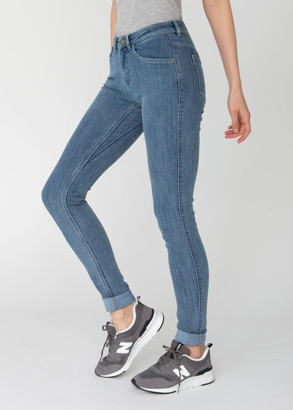 womens light wash mid rise skinny fit stretch jeans side