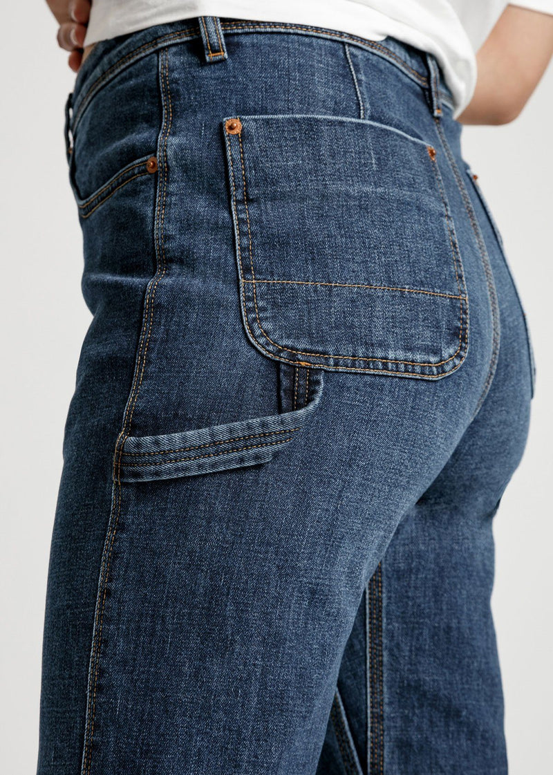 womens mid blue high rise straight stretch work jeans back detail