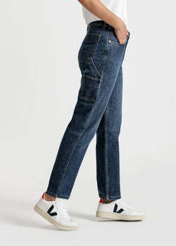womens mid blue high rise straight stretch work jeans side