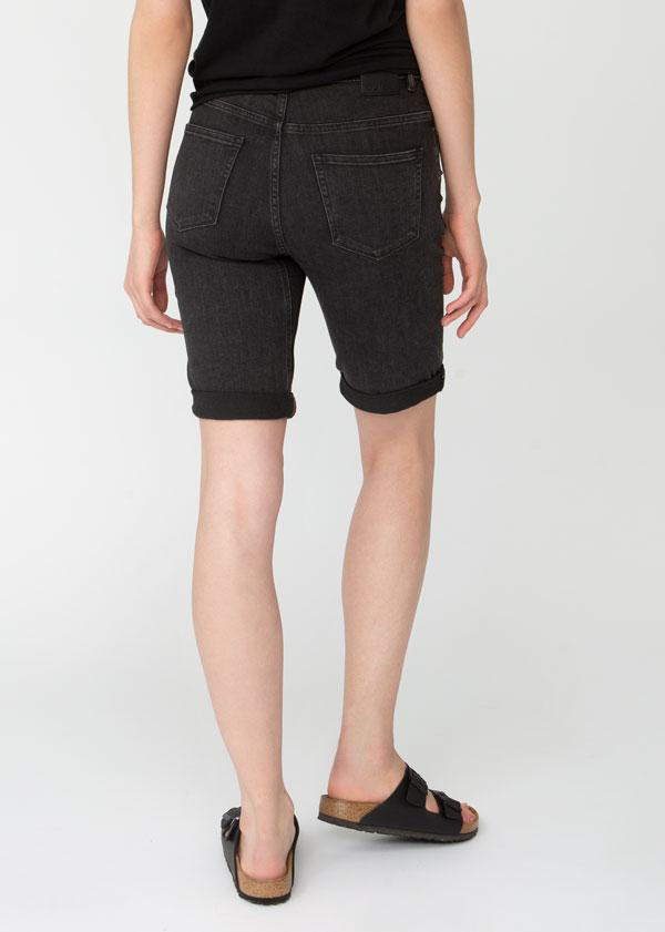 womens washed black denim commuter short back