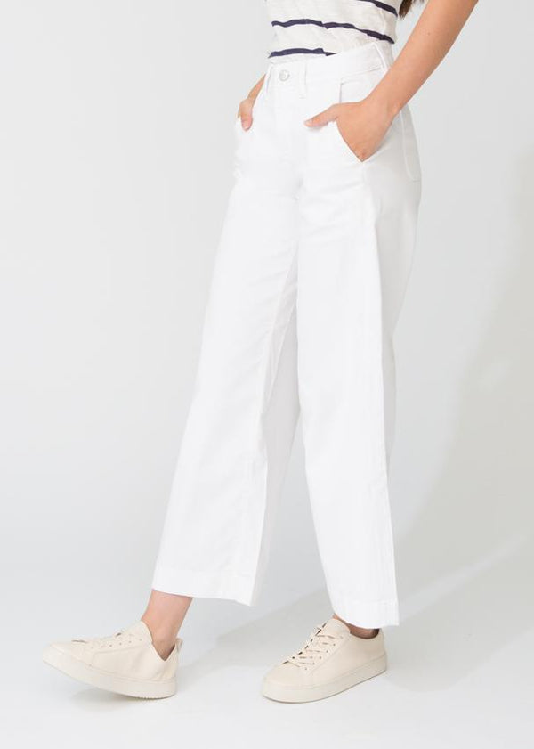 womens white lightweight wide leg crop pant side