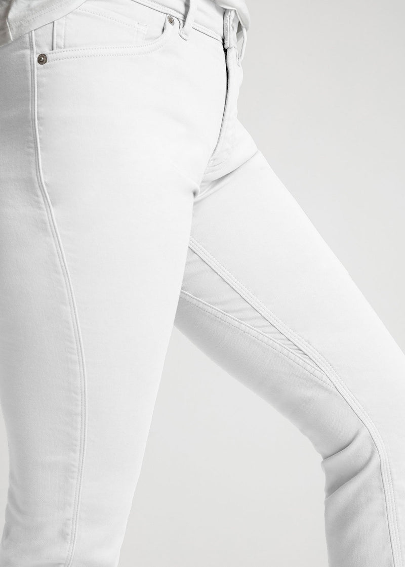 womens white slim straight fit dress sweatpant detail