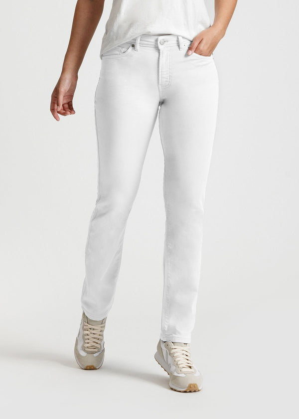 womens white slim straight fit dress sweatpant front