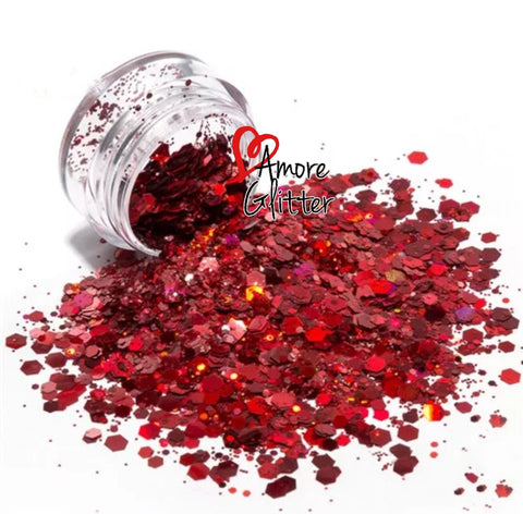 Amore Glitter Holographic Red Glitter Mix - Vroni Nail Art