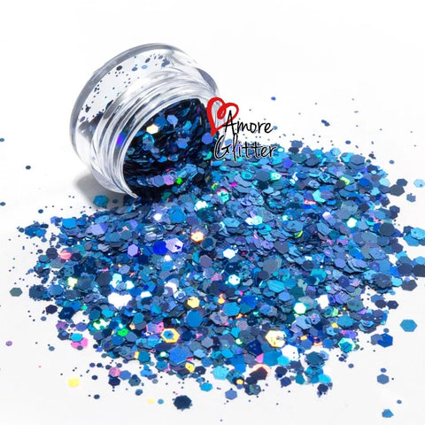 Amore Glitter Holographic Light Blue Glitter Mix - Vroni Nail Art