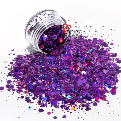 Amore Glitter Holographic Purple Glitter Mix - Vroni Nail Art
