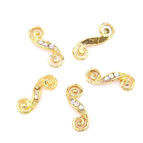 AB Crystal Gold S Shaped Nail Charm - Vroni Nail Art