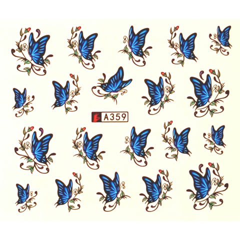 Blue Butterflies Water Decal - Vroni Nail Art